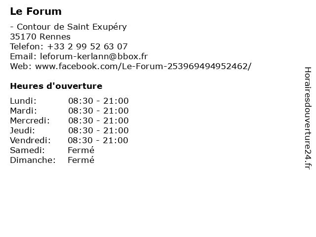Le Forum à Rennes: adresse et heures d'ouverture