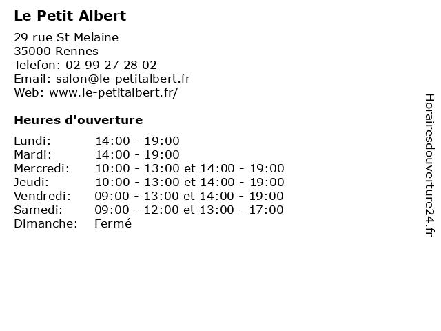 Le Petit Albert à Rennes: adresse et heures d'ouverture