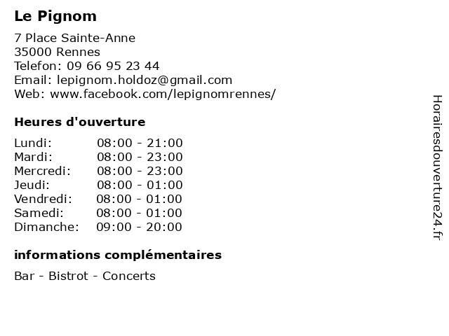 Le Pignom à Rennes: adresse et heures d'ouverture