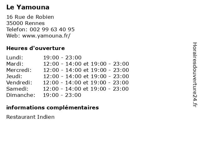 Le Yamouna à Rennes: adresse et heures d'ouverture