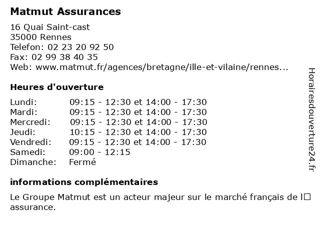 MATMUT à Rennes: adresse et heures d'ouverture