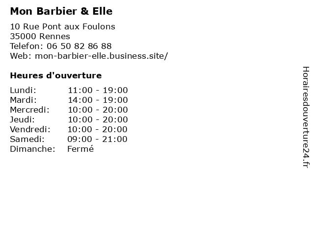 Mon Barbier & Elle à Rennes: adresse et heures d'ouverture