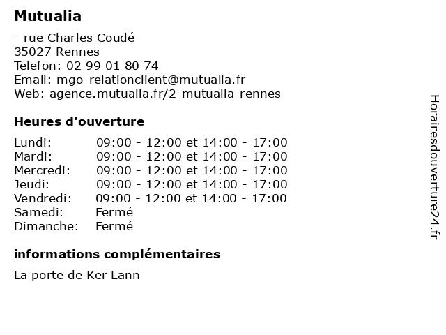 Mutualia à Rennes: adresse et heures d'ouverture
