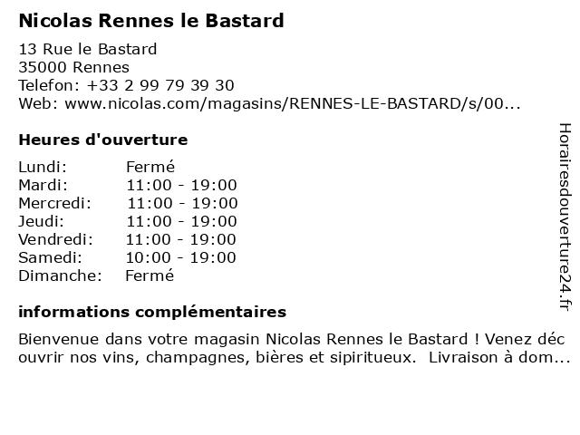 Nicolas Rennes le Bastard à Rennes: adresse et heures d'ouverture