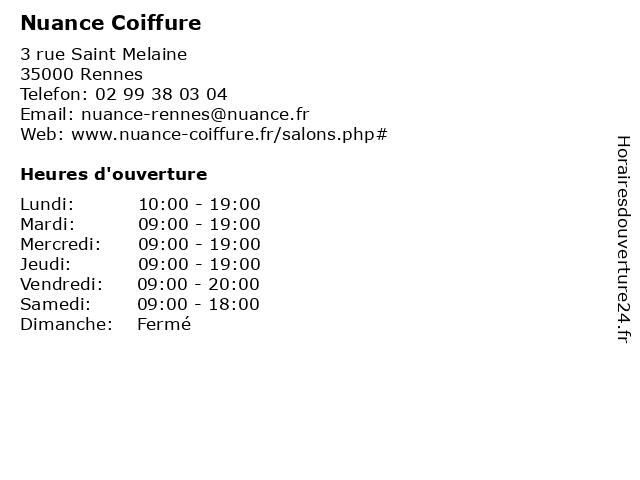 Nuance Coiffure à Rennes: adresse et heures d'ouverture