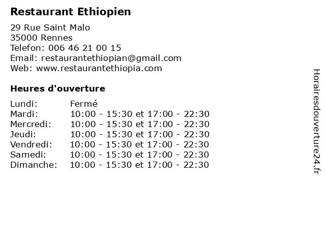 Restaurant Ethiopien à Rennes: adresse et heures d'ouverture