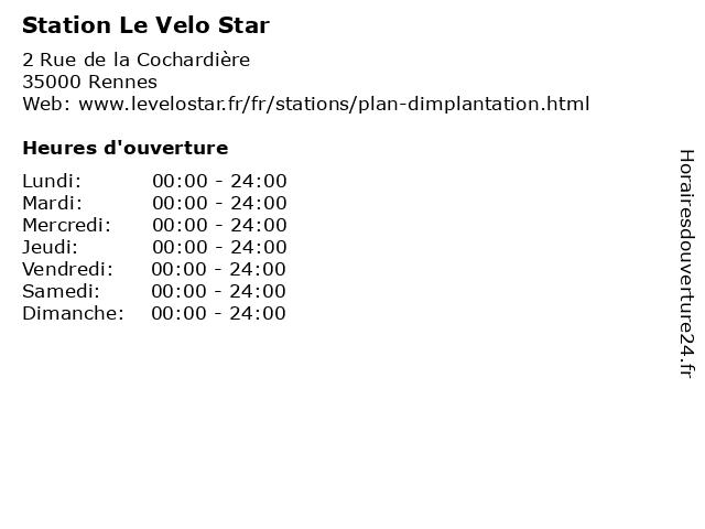 Station Le Velo Star à Rennes: adresse et heures d'ouverture