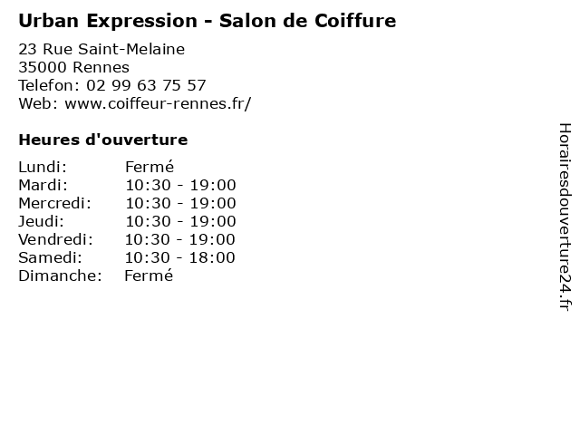Urban Expression - Salon de Coiffure à Rennes: adresse et heures d'ouverture