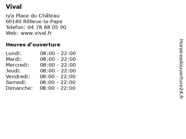 Vival à Rillieux-la-Pape: adresse et heures d'ouverture