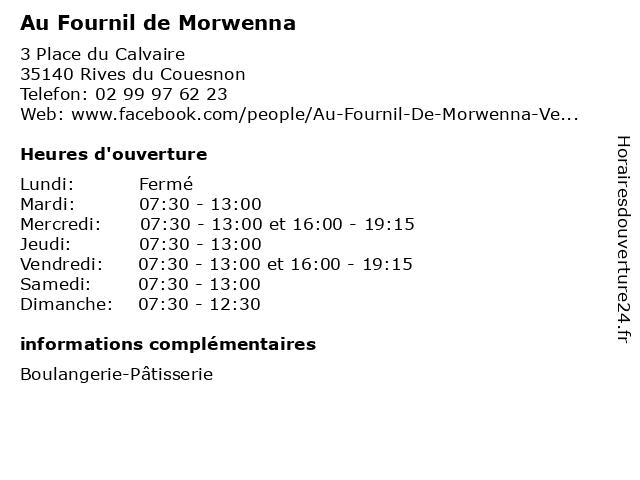 Au Fournil de Morwenna à Rives du Couesnon: adresse et heures d'ouverture