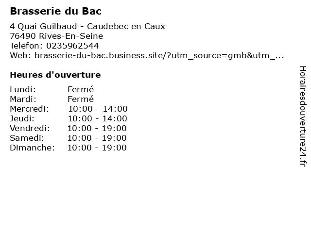 Brasserie du Bac à Rives-En-Seine: adresse et heures d'ouverture