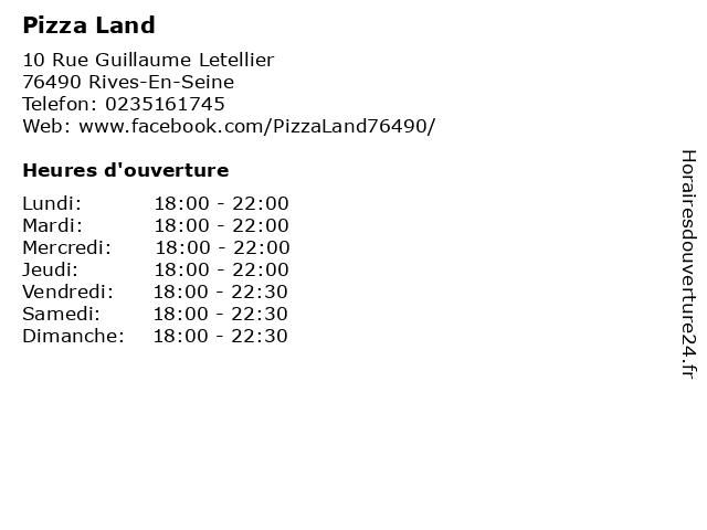 Pizza Land à Rives-En-Seine: adresse et heures d'ouverture