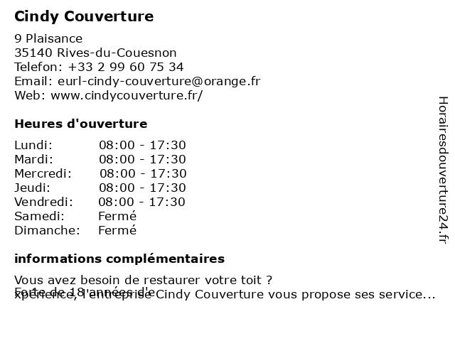 Cindy Couverture à Rives-du-Couesnon: adresse et heures d'ouverture