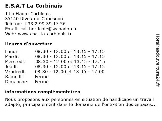 E.S.A.T. Horticole à Rives-du-Couesnon: adresse et heures d'ouverture