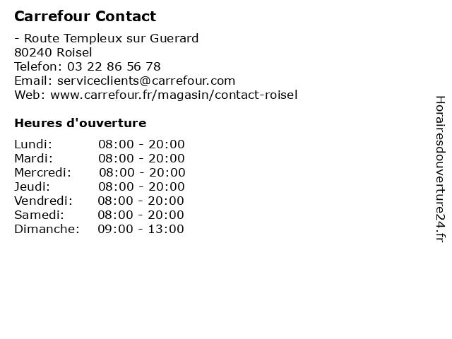 Carrefour Contact à Roisel: adresse et heures d'ouverture