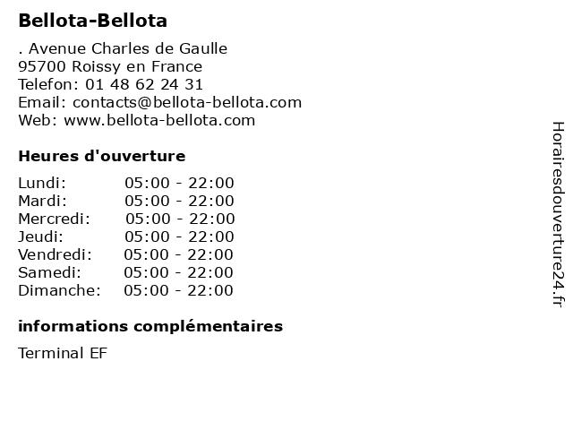 Bellota-Bellota à Roissy en France: adresse et heures d'ouverture