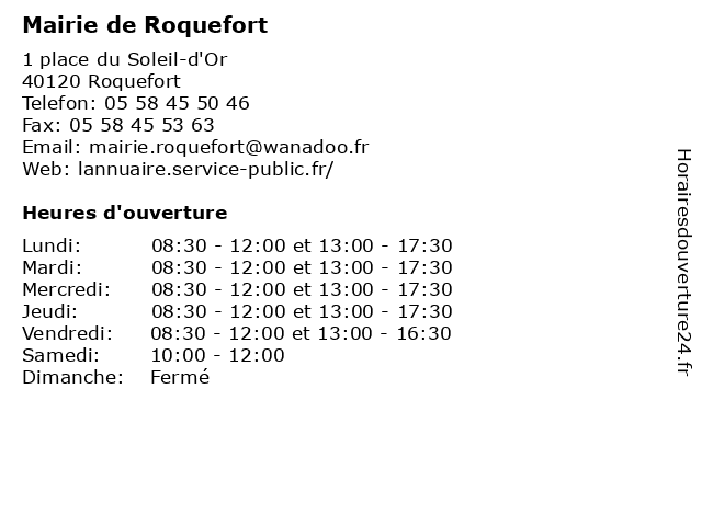 Mairie de Roquefort à Roquefort: adresse et heures d'ouverture