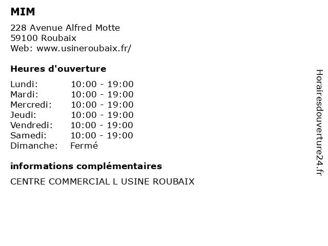 MIM à Roubaix: adresse et heures d'ouverture