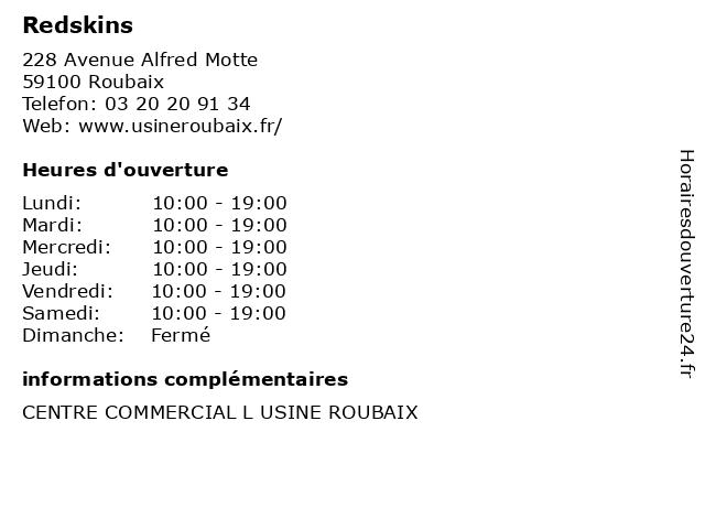 Redskins à Roubaix: adresse et heures d'ouverture