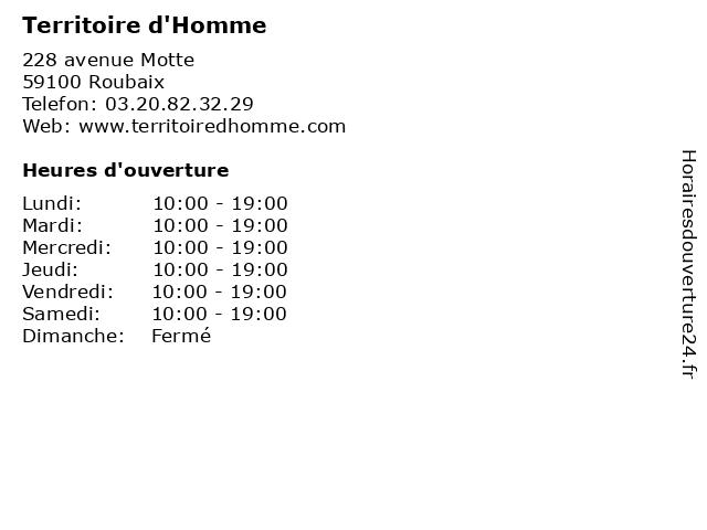 Territoire d'Homme à Roubaix: adresse et heures d'ouverture