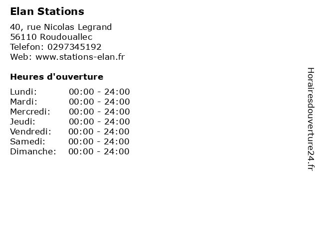 Elan Stations à Roudouallec: adresse et heures d'ouverture
