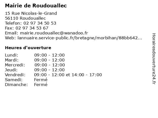 Mairie de Roudouallec à Roudouallec: adresse et heures d'ouverture
