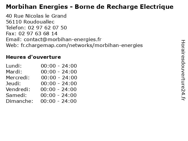 Morbihan Energies - Borne de Recharge Electrique à Roudouallec: adresse et heures d'ouverture