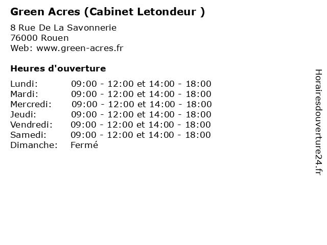 Green Acres (Cabinet Letondeur ) à Rouen: adresse et heures d'ouverture