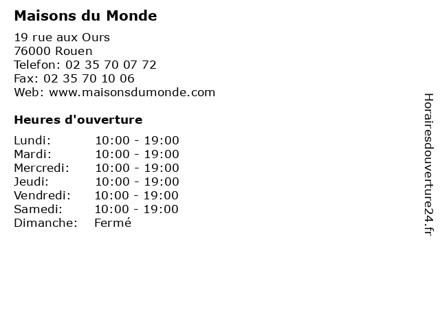 Maisons du Monde à Rouen: adresse et heures d'ouverture