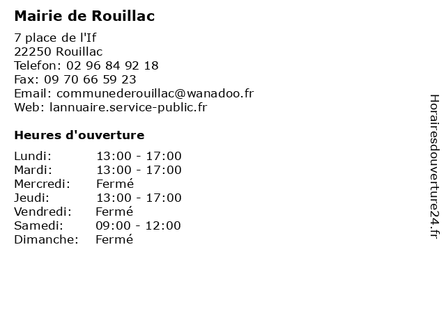 Mairie de Rouillac à Rouillac: adresse et heures d'ouverture