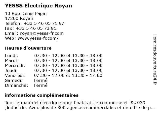 YESSS Electrique Royan à Royan: adresse et heures d'ouverture