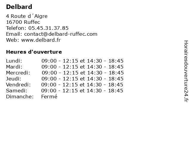 ᐅ Delbard Horaires D Ouverture 4 Route D Aigre A Ruffec