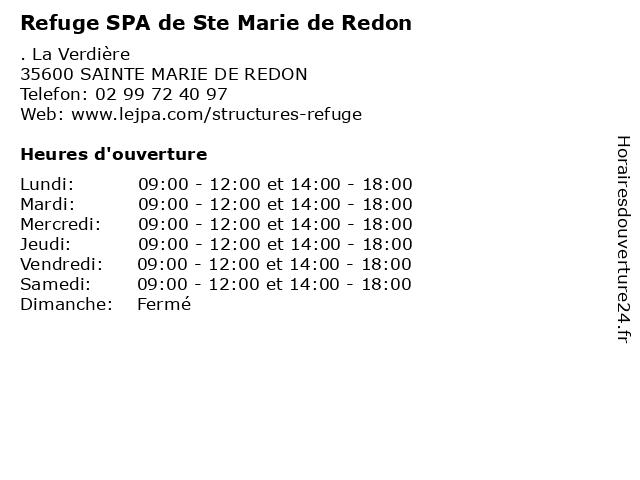 Refuge SPA de Ste Marie de Redon à SAINTE MARIE DE REDON: adresse et heures d'ouverture