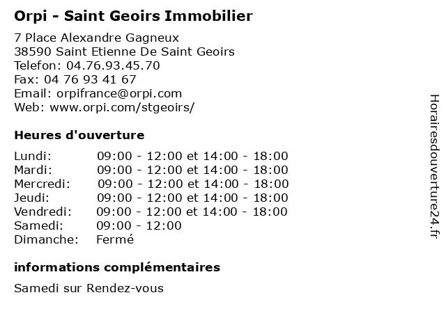 Orpi à ST ETIENNE DE ST GEOIRS: adresse et heures d'ouverture
