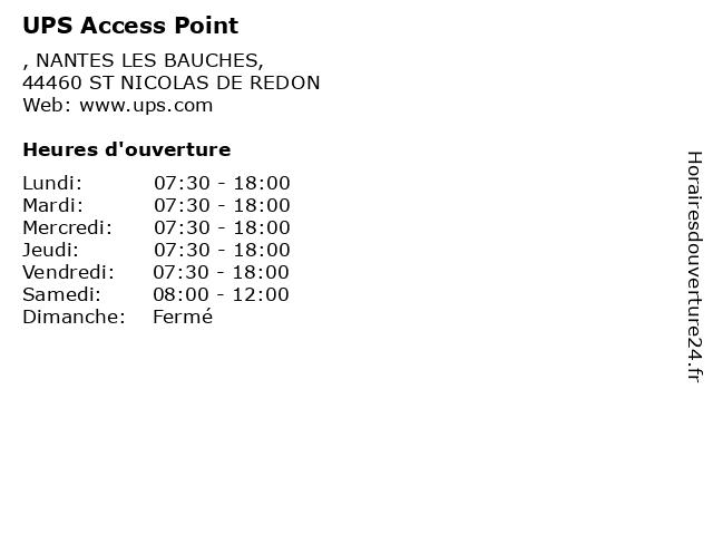 UPS Access Point à ST NICOLAS DE REDON: adresse et heures d'ouverture