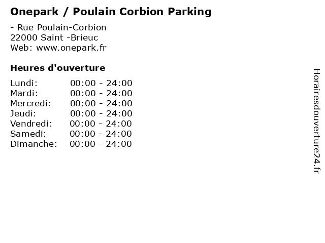 Onepark / Poulain Corbion Parking à Saint -Brieuc: adresse et heures d'ouverture