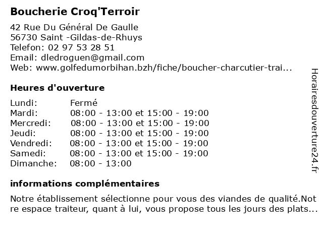 Boucherie Croq'Terroir à Saint -Gildas-de-Rhuys: adresse et heures d'ouverture