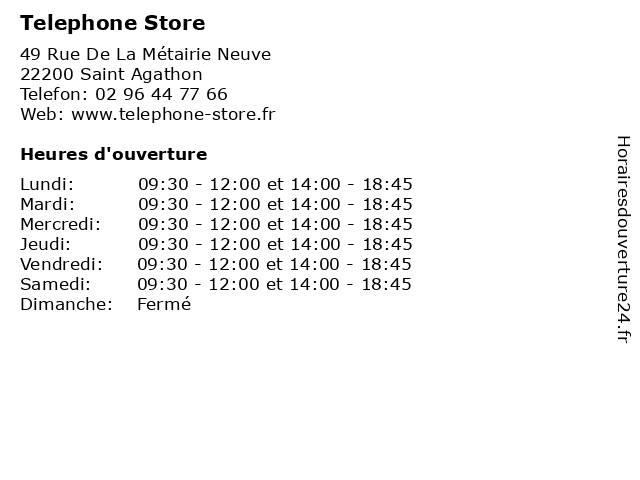 Telephone Store à Saint Agathon: adresse et heures d'ouverture
