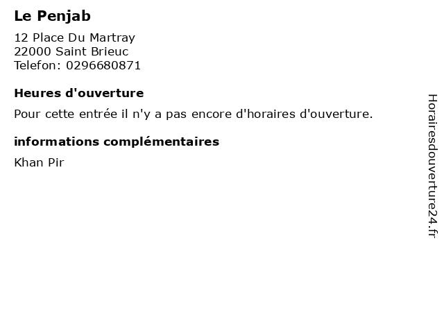 Le Penjab à Saint Brieuc: adresse et heures d'ouverture