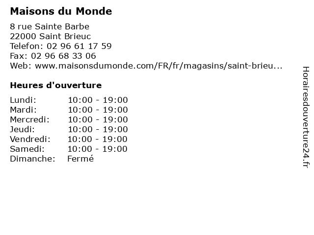 Maisons du Monde à Saint Brieuc: adresse et heures d'ouverture