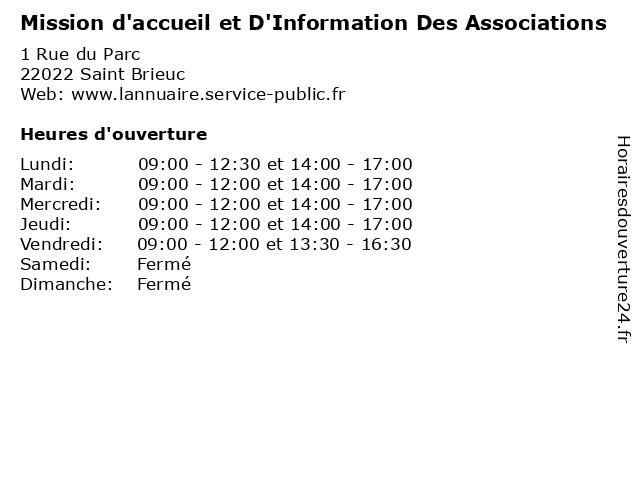 Mission d'accueil et D'Information Des Associations à Saint Brieuc: adresse et heures d'ouverture