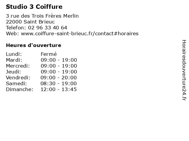Studio 3 Coiffure à Saint Brieuc: adresse et heures d'ouverture