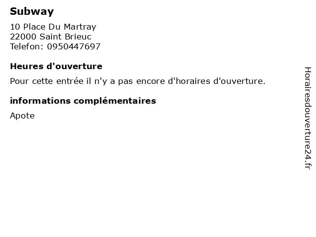 Subway à Saint Brieuc: adresse et heures d'ouverture