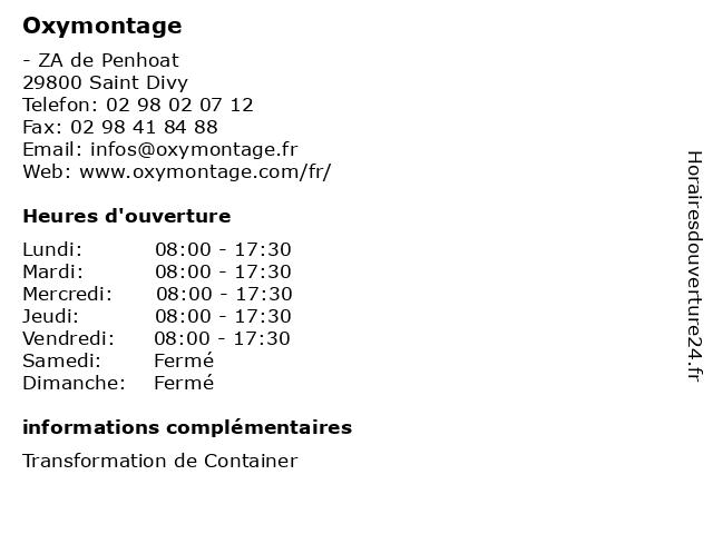 Oxymontage à Saint Divy: adresse et heures d'ouverture