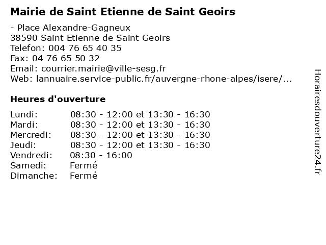 Mairie de Saint Etienne de Saint Geoirs à Saint Etienne de Saint Geoirs: adresse et heures d'ouverture