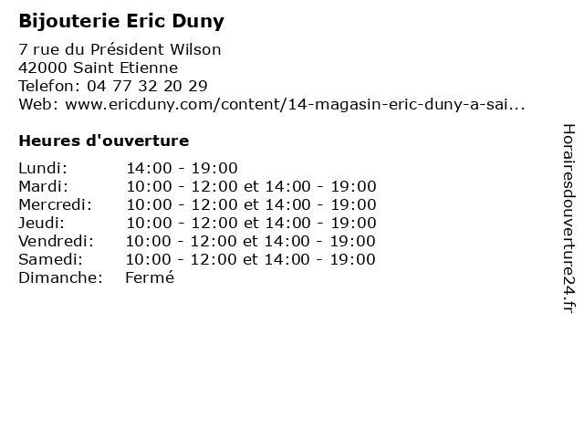 Bijouterie Eric Duny à Saint Etienne: adresse et heures d'ouverture