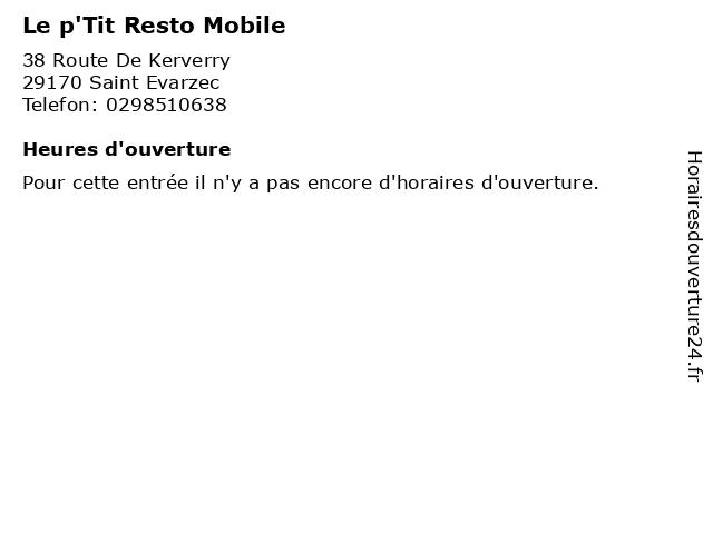 Le p'Tit Resto Mobile à Saint Evarzec: adresse et heures d'ouverture