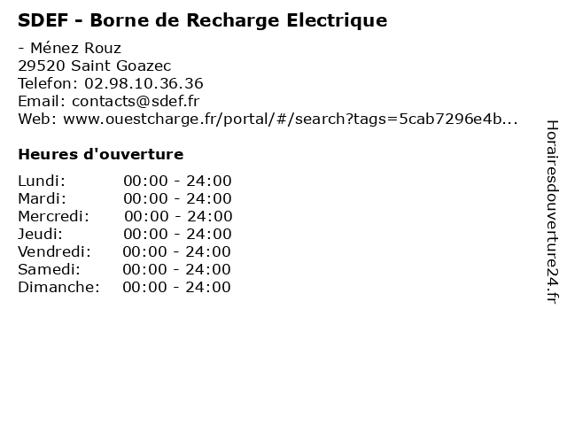 SDEF - Borne de Recharge Electrique à Saint Goazec: adresse et heures d'ouverture
