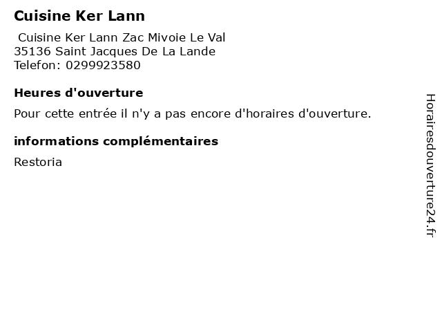 Cuisine Ker Lann à Saint Jacques De La Lande: adresse et heures d'ouverture