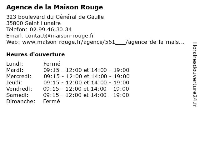 Agence de la Maison Rouge à Saint Lunaire: adresse et heures d'ouverture
